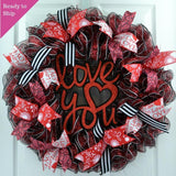 Valentines Day Mesh Door Wreath; Red White Black