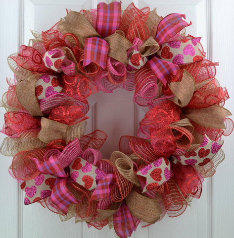 Valentines Day Jute Burlap Mesh Door Wreath | Red Burlap Pink