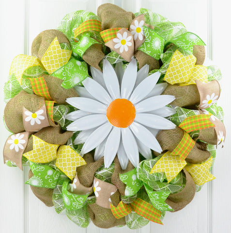 Daisy Spring Flower Wreath | Burlap Yellow White Green