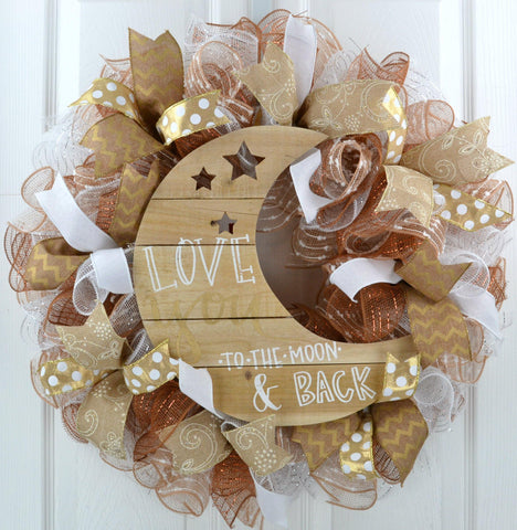 Love You to the Moon Wreath | White Gold Jute