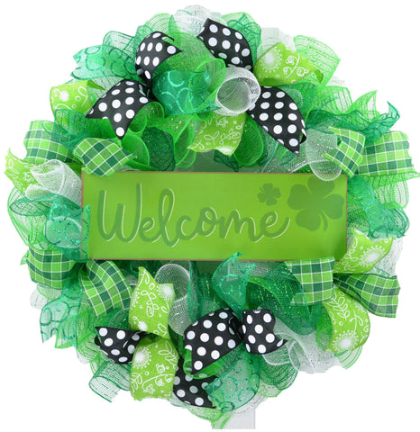 Lime green black and white St Patricks wreath with Welcome sign