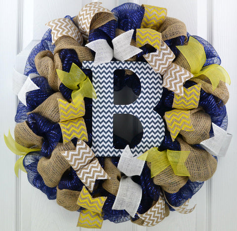 Burlap Monogram Mesh Door Wreath | Navy Blue, Yellow, White