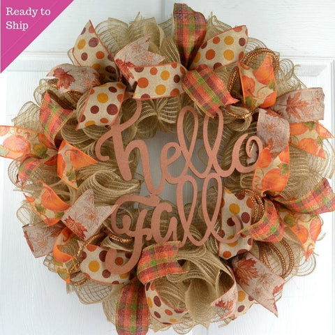 Ready to Ship Jute fall colored wreath with sparkly Hello Fall sign in the center