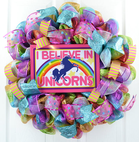 I Believe in Unicorns Mesh Front Door Wreath | Pink White Purple