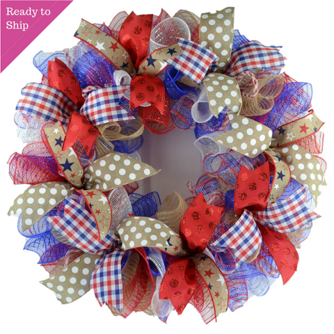 Fourth of July Independence Day Mesh Door Wreath; red white blue jute burlap - Pink Door Wreaths