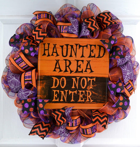 Haunted Area Halloween Mesh Door Wreath | Purple Orange Black