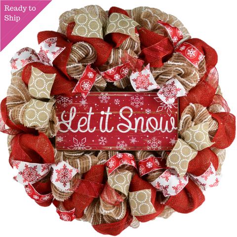Jute and red Let it Snow Welcome Wreath