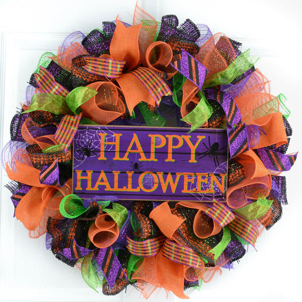 Happy Halloween Mesh Door Wreath | Purple Orange Black ...