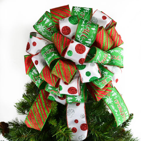 Three ribbon red, white and emerald green Christmas tree topper bow with twelve inch tails