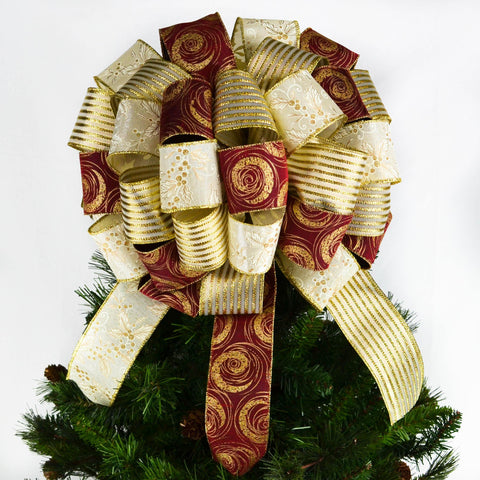 Christmas Tree Bows Tree Topper Bows Burgundy Ivory Gold Bow