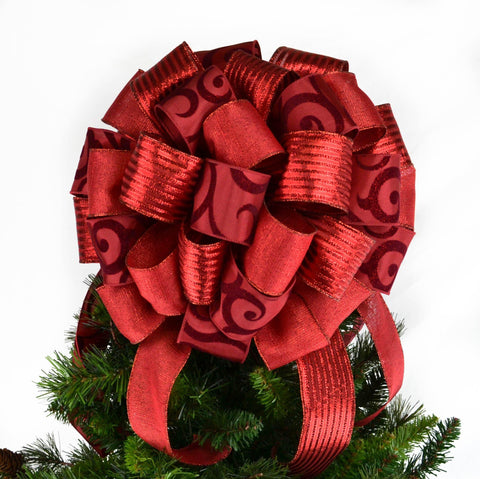 Solid Red Christmas Tree Topper Bow | Gift Bow - Pink Door Wreaths