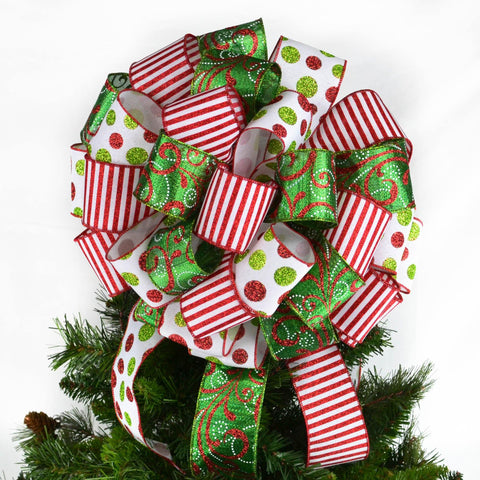 Christmas Tree Bow with red white striped ribbon, emerald green, and white polka dot ribbon