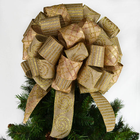 Burlap and Gold Rustic Christmas Tree Bow with 12 inch tails on top of a Christmas tree