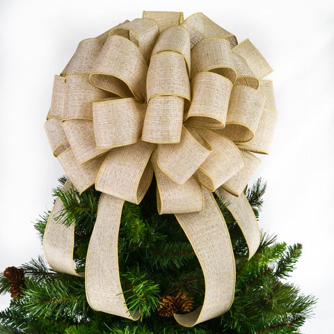 Solid Burlap Christmas Tree Bow Topper | Lantern Bow | Rustic Present Bow