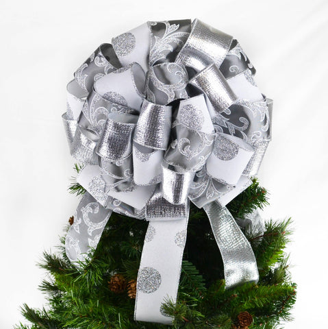 Grey Silver White Christmas Tree Bow Topper