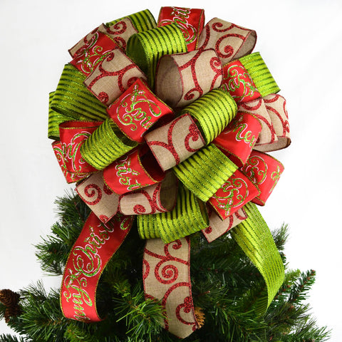 "Red burlap and lime green Christmas tree bow with 12"" tails on top of a Christmas tree"