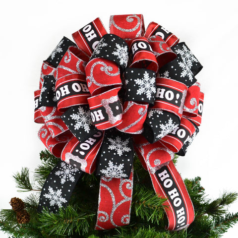 Red Black and Silver Christmas Tree Bow Topper | Santa Present Bow