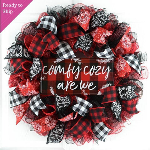 Ready to Ship red white and black mesh wreath with sign in center that says Comfy Cozy Are We