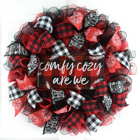 Buffalo Check Christmas Wreath.Buffalo Plaid Check Christmas Wreath Black Red White Comfy Cozy Are We