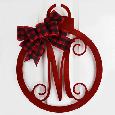 Buffalo Plaid Monogram Decor | Christmas Ornament Initial Door Hanger