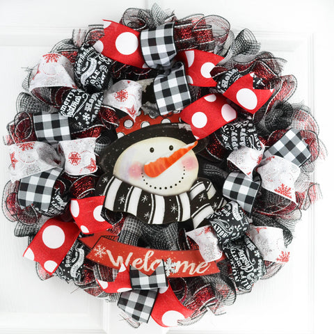 Buffalo Check Christmas Wreath.Snowman Buffalo Plaid Christmas Wreath Black Red White