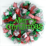 Monogram Christmas Wreath | Mesh Wreath Red Emerald Green Silver : C4