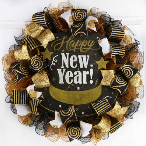 Happy New Year Mesh Front Door Wreath | Black Gold White New Years Eve Decor
