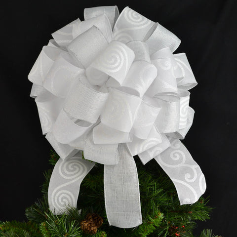 All White Tree Topper Bow - Lantern Topper - Large Present or Gift Bow