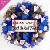 We're at the Ball Field Baseball Wreath | Royal Blue Red White
