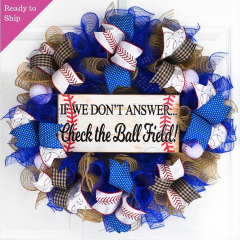 We're at the Ball Field Baseball Wreath | Royal Blue Red White - Pink Door Wreaths