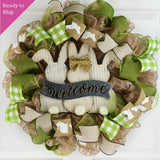 Easter Bunny Wreath | Spring Welcome Door Wreath | Jute Green White