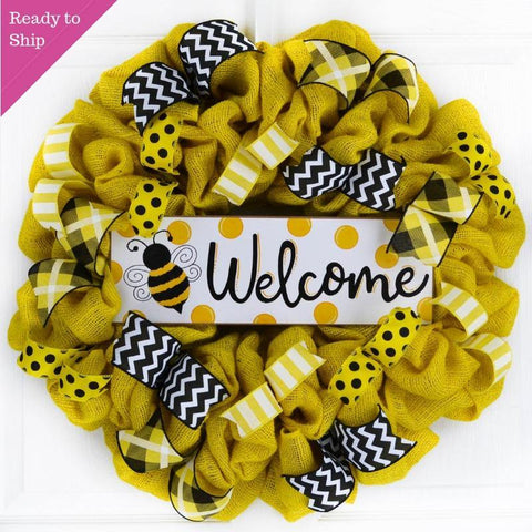 Yellow burlap bumblebee wreath with Welcome sign