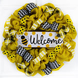 Black and yellow bee welcome wreath