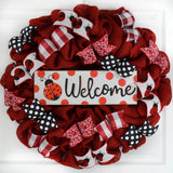 Ladybug Burlap Door Wreath | Lady Bug Welcome Colorful Summer Wreath | Red Black White
