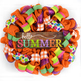 Hello Summer Wreath | Orange Burlap Wreath | Colorful Outdoor Mesh Wreath
