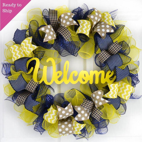 Navy Blue Yellow Everyday Welcome Mesh Door Wreath | Spring Summer Decor