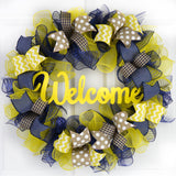 Navy Blue Yellow Everyday Welcome Mesh Door Wreath