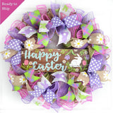 Pink Purple and Jute wreath with Easter Ribbons and wooden Easter sign