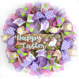 Happy Easter Wreath | Spring Welcome Door Wreath | Burlap Pink Purple
