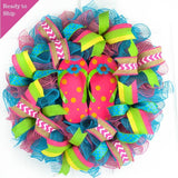Pink Summer spring flip flop welcome deco mesh wreath | turquoise lime green yellow