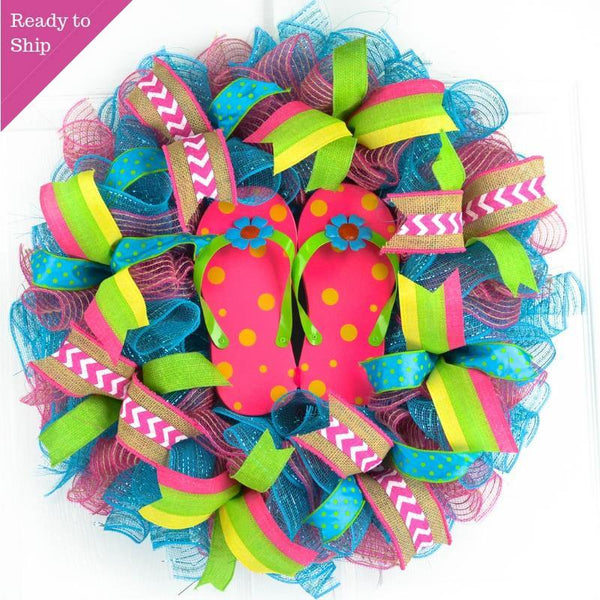 Pink Summer Spring Flip Flop Welcome Deco Mesh Wreath Turquoise Lime Pink Door Wreaths