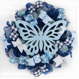 Summer Spring Butterfly Door Wreath; Navy Blue White Baby Blue