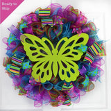 Summer Spring Butterfly Door Wreath | Pink Lime Green Turquoise Purple