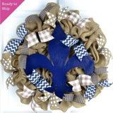 Fleur de Lis Wreath | Everyday Mother's Day Gift | Navy Blue Burlap White
