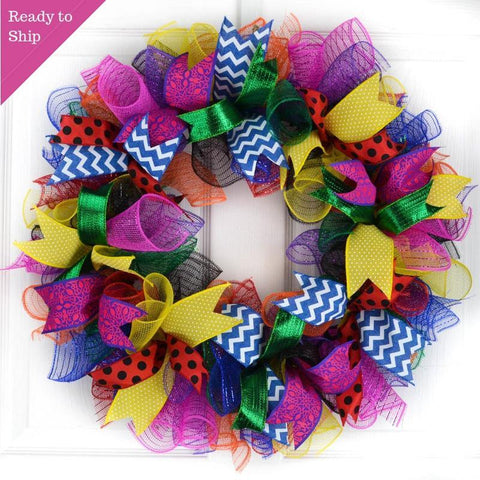 Classroom Teacher Birthday Party Mesh Door Wreath | Multi Color - Pink Door Wreaths