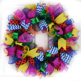 Classroom Teacher Birthday Party Mesh Door Wreath | Multi Color