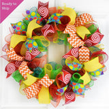 Summer Teacher Classroom Mesh Door Wreath | Red Yellow Turquoise Lime Green Orange