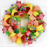 Summer Teacher Classroom Mesh Door Wreath | Red Yellow Turquoise Lime Green Orange - Pink Door Wreaths