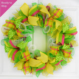 Yellow and Green Mesh Door Wreath