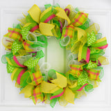Summer Spring Welcome Mesh Door Wreath; Lime Green Yellow White